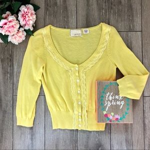 Anthropologie Guinevere Tide Table Cardigan Yellow